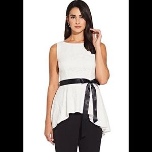NWT Adrianna Papell Lace Peplum High Low Top